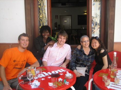 From left to right, Andy, Ama, me (with long hair), Lola (my host mom), and Lin